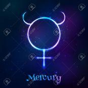 Shining blue neon zodiac Mercury symbol